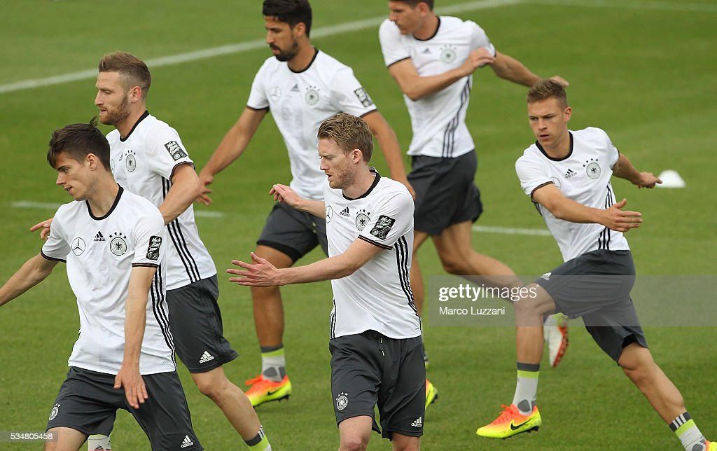 Andre Schurrle (C) of Germany trains during the German national team's pre-EURO 2016 training camp on May 28, 2016 in Ascona, Switzerland.