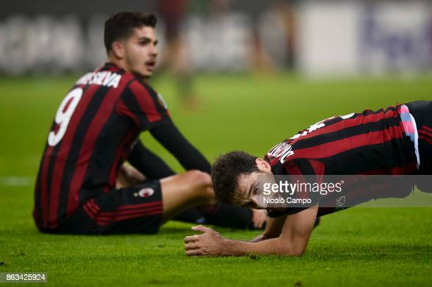 Andre Silva and Giacomo Bonaventura of AC Milan look dejected during the UEFA Europa League football match between AC Milan and AEK Athens The match...