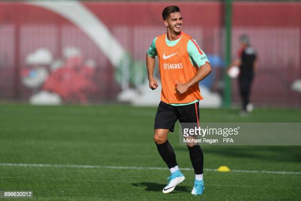 Andre Silva in action during the Portugal training session on June 16 2017 in Kazan Russia