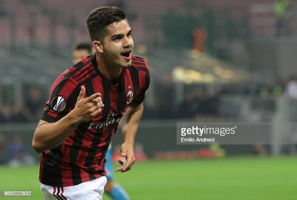 Andre Silva of AC Milan celebrates after scoring the opening goal during the UEFA Europa League group D match between AC Milan and HNK Rijeka at...