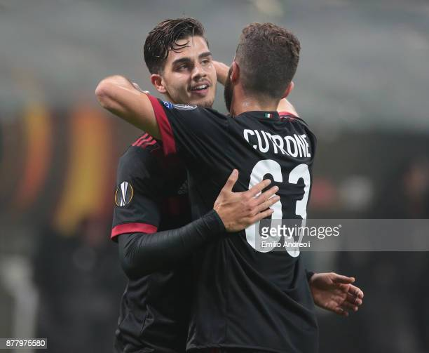 Andre Silva of AC Milan celebrates his second goal with his teammate Patrick Cutrone during the UEFA Europa League group D match between AC Milan and...