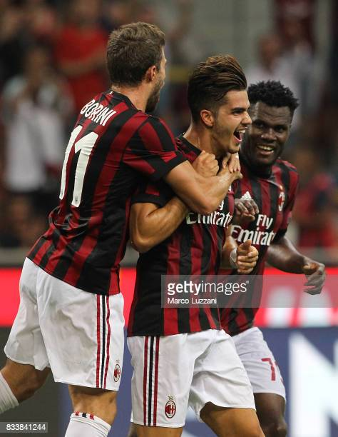 Andre Silva of AC Milan celebrates his second goal with his teammates Fabio Borini and Franck Kessie during the UEFA Europa League Qualifying...