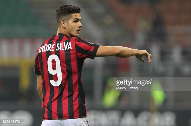 Andre Silva of AC Milan gestures during the UEFA Europa League group D match between AC Milan and HNK Rijeka at Stadio Giuseppe Meazza on September...