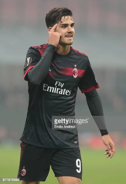 Andre Silva of AC Milan gestures during the UEFA Europa League group D match between AC Milan and Austria Wien at Stadio Giuseppe Meazza on November...