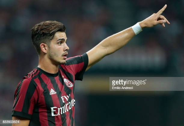 Andre Silva of AC Milan gestures during the UEFA Europa League Qualifying PlayOffs round first leg match between AC Milan and KF Shkendija 79 at...