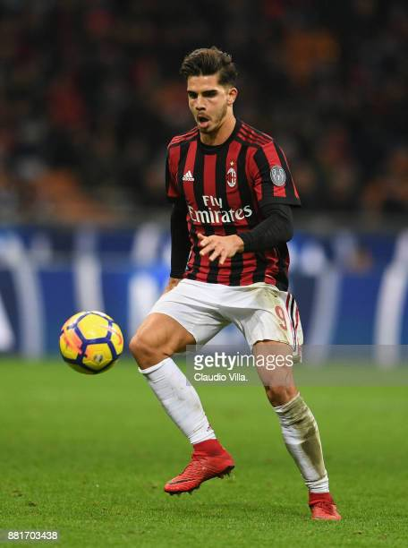 Andre Silva of AC Milan in action during the Serie A match between AC Milan and Torino FC at Stadio Giuseppe Meazza on November 26 2017 in Milan Italy