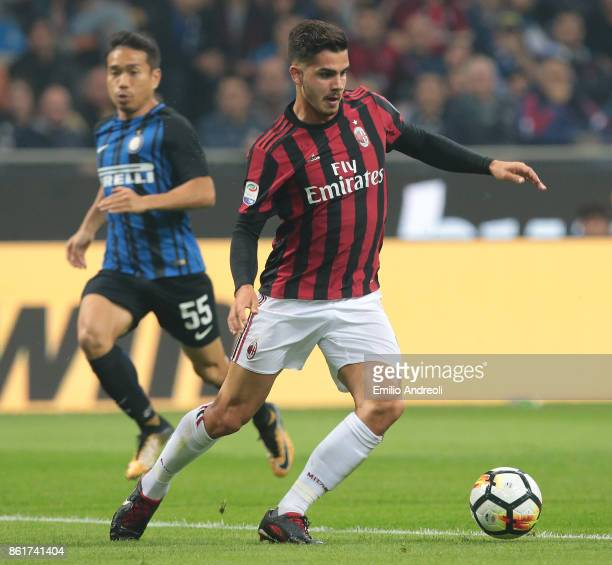 Andre Silva of AC Milan in action during the Serie A match between FC Internazionale and AC Milan at Stadio Giuseppe Meazza on October 15 2017 in...