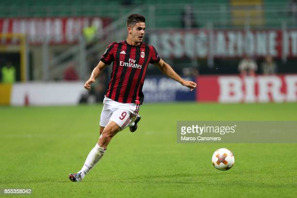 Andre Silva of Ac Milan in action during the UEFA Europa League group D football match between AC Milan and HNK Rijeka AC Milan wins 32 over HNK...