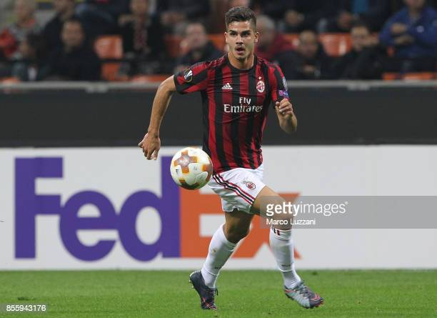 Andre Silva of AC Milan in action during the UEFA Europa League group D match between AC Milan and HNK Rijeka at Stadio Giuseppe Meazza on September...