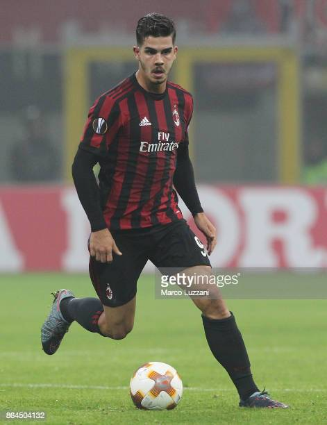Andre Silva of AC Milan in action during the UEFA Europa League group D match between AC Milan and AEK Athens at Stadio Giuseppe Meazza on October 19...