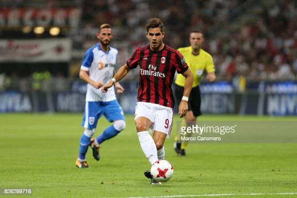 Andre Silva of Ac Milan in action during the UEFA Europa League Third Qualifying Round Second Leg match between AC Milan and CSU Craiova AC Milan won...