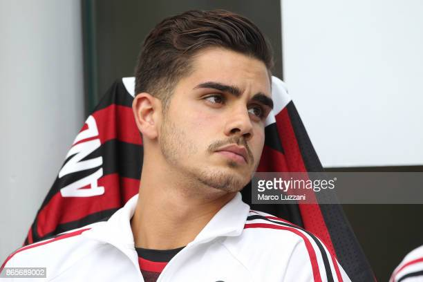 Andre Silva of AC Milan looks on before the Serie A match between AC Milan and Genoa CFC at Stadio Giuseppe Meazza on October 22 2017 in Milan Italy