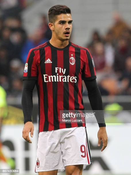 Andre Silva of AC Milan looks on during the Serie A match between AC Milan and AS Roma at Stadio Giuseppe Meazza on October 1 2017 in Milan Italy