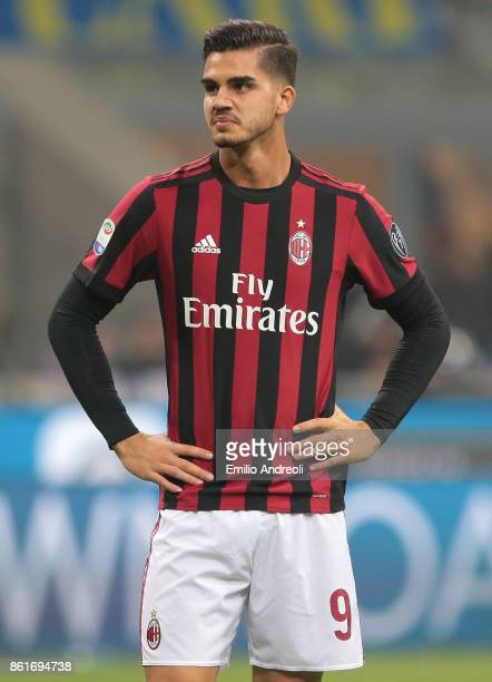 Andre Silva of AC Milan looks on during the Serie A match between FC Internazionale and AC Milan at Stadio Giuseppe Meazza on October 15 2017 in...