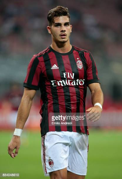 Andre Silva of AC Milan looks on during the UEFA Europa League Qualifying PlayOffs round first leg match between AC Milan and KF Shkendija 79 at...