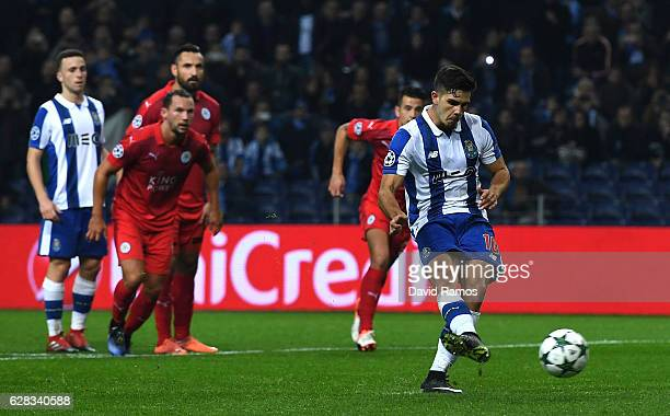 Andre Silva of FC Porto celebrates scoring his sides fourth goal from the penalty spot during the UEFA Champions League Group G match between FC...