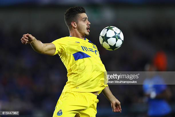 Andre Silva of FC Porto chests the ball during the UEFA Champions League Group G match between Club Brugge KV and FC Porto at Jan Breydel Stadium on...