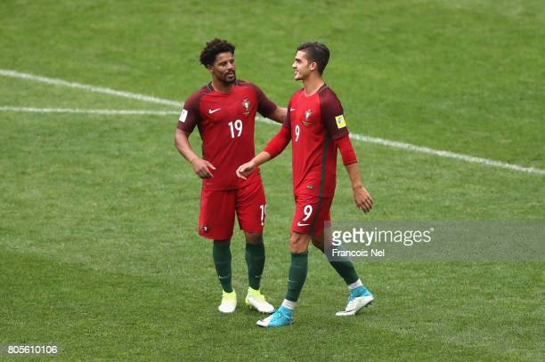 Andre Silva of Portugal and Eliseu of Portugal celebrate their sides second goal during the FIFA Confederations Cup Russia 2017 PlayOff for Third...