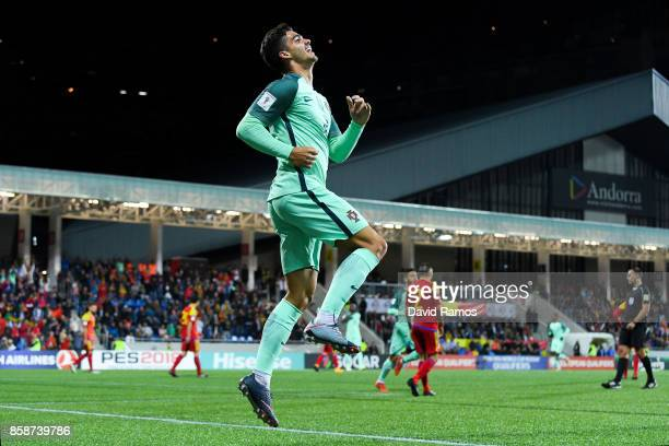 Andre Silva of Portugal celebrates after scoring his team's second goal during the FIFA 2018 World Cup Qualifier between Andorra and Portugal at the...