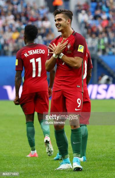 Andre Silva of Portugal celebrates scoring his sides third goal during the FIFA Confederations Cup Russia 2017 Group A match between New Zealand and...