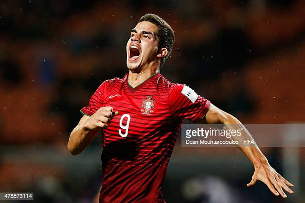 Andre Silva of Portugal celebrates scoring the second goal of the game with a header during the FIFA U20 World Cup New Zealand 2015 Group C match...