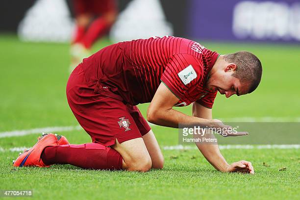 Andre Silva of Portugal falls down injured during the FIFA U20 World Cup New Zealand 2015 quarter final match between Brazil and Portugal held at...
