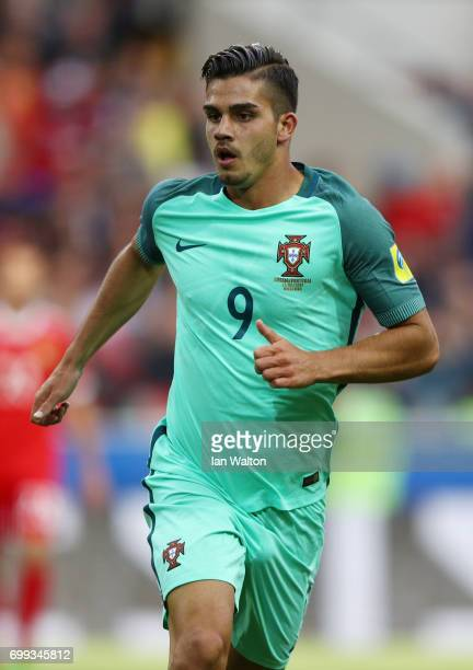 Andre Silva of Portugal in action during the FIFA Confederations Cup Russia 2017 Group A match between Russia and Portugal at Spartak Stadium on June...
