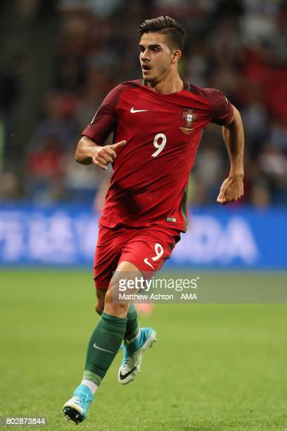 Andre Silva of Portugal in action during the FIFA Confederations Cup Russia 2017 SemiFinal match between Portugal and Chile at Kazan Arena on June 28...