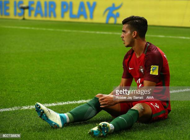 Andre Silva of Portugal looks on during the FIFA Confederations Cup Russia 2017 SemiFinal match between Portugal and Chile at Kazan Arena on June 28...