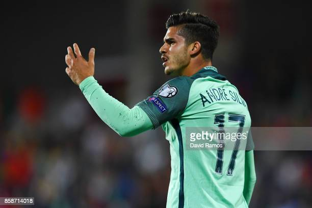 Andre Silva of Portugal reacts during the FIFA 2018 World Cup Qualifier between Andorra and Portugal at the Estadi Nacional on October 7 2017 in...