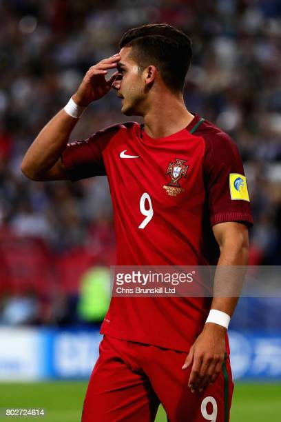 Andre Silva of Portugal reacts during the FIFA Confederations Cup Russia 2017 SemiFinal between Portugal and Chile at Kazan Arena on June 28 2017 in...