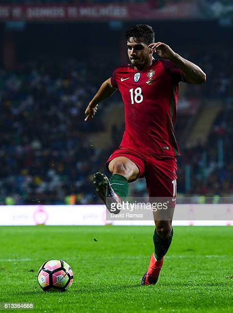 Andre Silva of Portugal runs with the ball during the FIFA 2018 World Cup Qualifier between Portugal and Andorra at Estadio Municipal de Aveiro on...