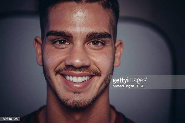 Andre Silva poses for a picture during the Portugal team portrait session on June 15 2017 in Kazan Russia