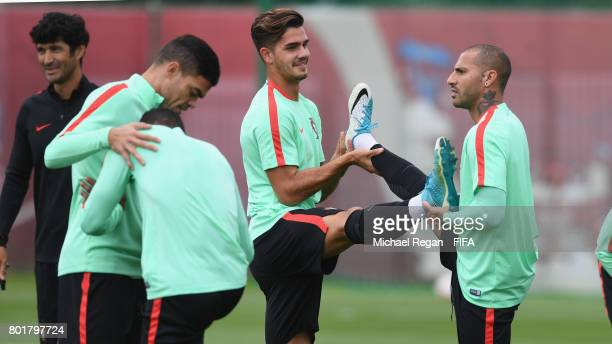 Andre Silva shares a laugh with Ricardo Quaresma during the Portugal training session on June 27 2017 in Kazan Russia