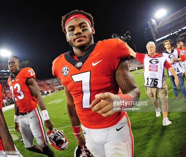 Andre Swift of the Georgia Bulldogs celebrates after the game against the Missouri Tigers at Sanford Stadium on October 14 2017 in Athens Georgia
