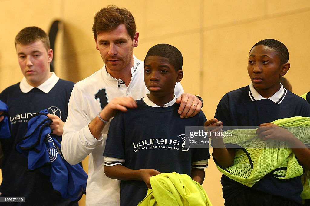 Andre Villas Boas gives football coaching to local school children during the Laureus Urban Research report launch on January 16, 2013 in London, England.
