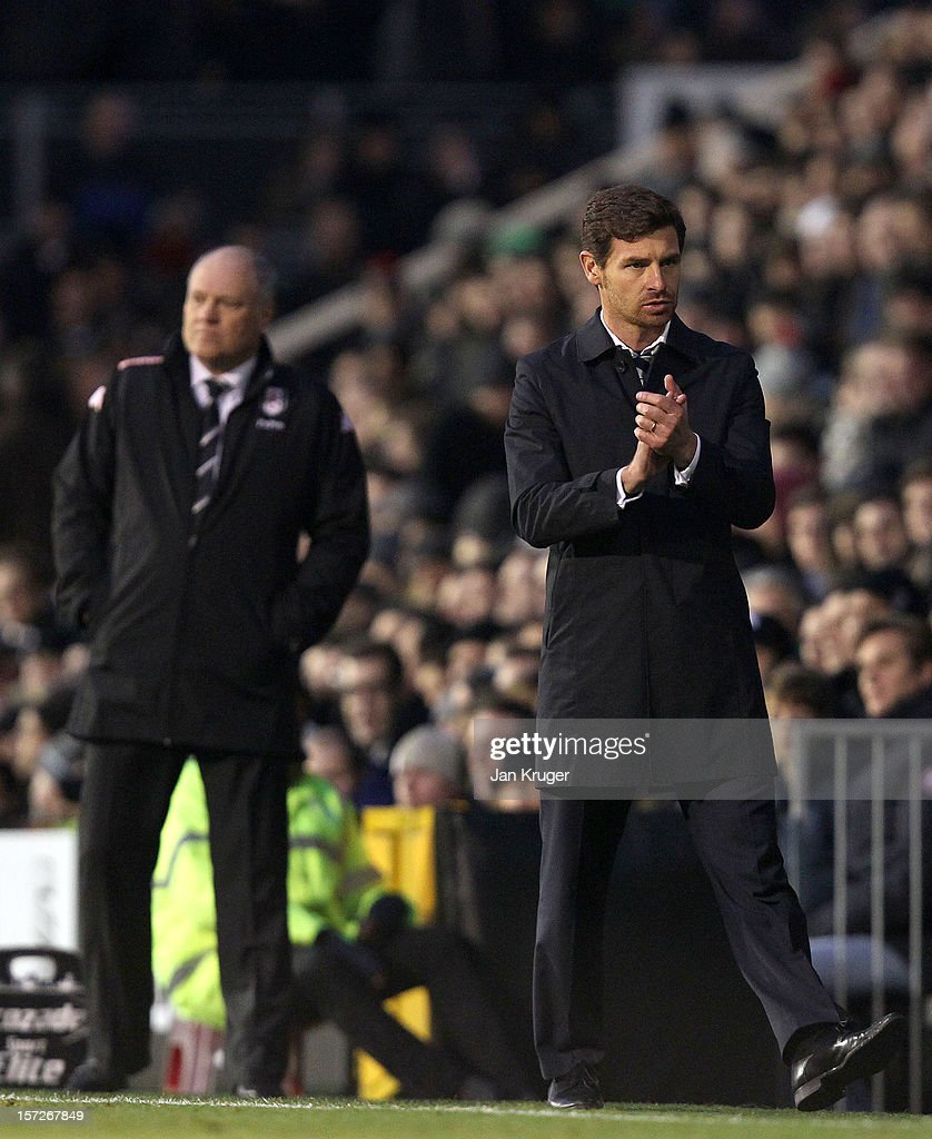 Andre Villas Boas (R), Manager of Tottenham and <a gi-track='captionPersonalityLinkClicked' href=/galleries/search?phrase=Martin+Jol&family=editorial&specificpeople=215368 ng-click='$event.stopPropagation()'>Martin Jol</a>, Manager of Fulham react during the Barclays Premier League match between Fulham and Tottenham Hotspur at Craven Cottage on December 1, 2012 in London, England.