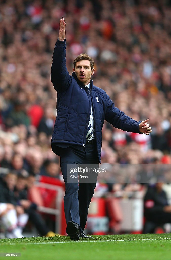 Andre Villas Boas of Tottenham Hotspur reacts during the Barclays Premier league match between Arsenal and Tottenham Hotspur at Emirates Stadium on November 17, 2012 in London, England.