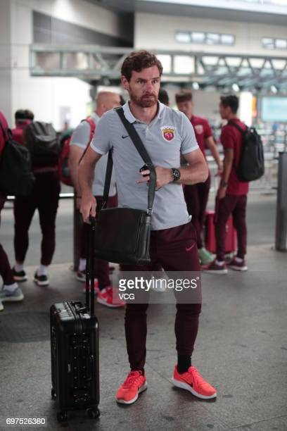 Andre VillasBoas head coach of Shanghai SIPG arrives at airport after the 13th round match of 2017 Chinese Football Association Super League between...