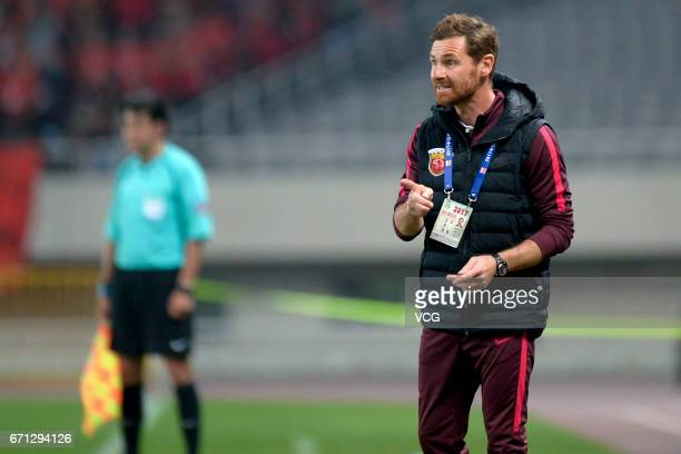 Andre VillasBoas head coach of Shanghai SIPG looks on during the 6th round match of China Super League between Shanghai SIPG and Hebei China Fortune...