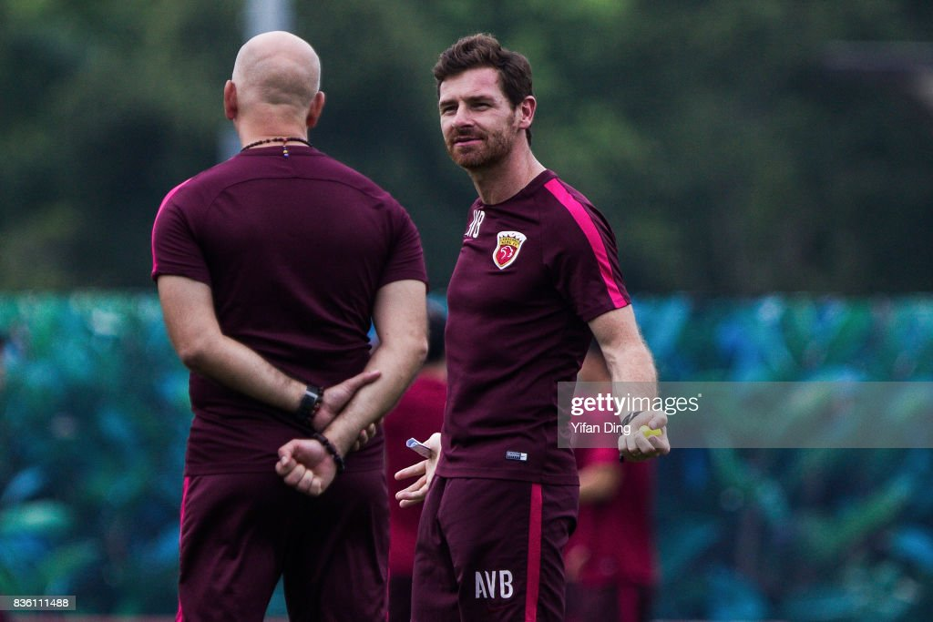 Andre Villas-Boas headcoach of Shanghai SIPG reacts during pre-match training session of the AFC Champions League 2017 Quarterfinals 1st leg between Shanghai SIPG v Guangzhou Evergrande at Shanghai Stadium on August 21, 2017 in Shanghai, China.