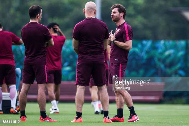 Andre VillasBoas headcoach of Shanghai SIPG reacts during prematch training session of the AFC Champions League 2017 Quarterfinals 1st leg between...