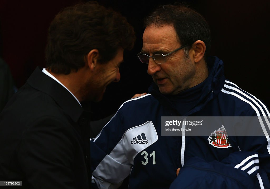 Andre Villas-Boas, manager of Tottenham Hotspur and Martin O'Neill, manager of Sunderland talk before the Barclays Premier League match between Sunderland and Tottenham Hotspur at Stadium of Light on December 29, 2012 in Sunderland, England.