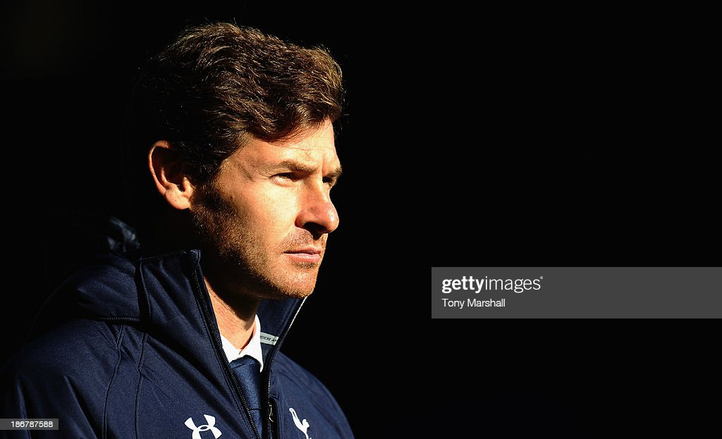 Andre Villas-Boas, manager of Tottenham Hotspur during the Barclays Premier League match between Everton and Tottenham Hotspur at Goodison Park on November 3, 2013 in Liverpool, England.