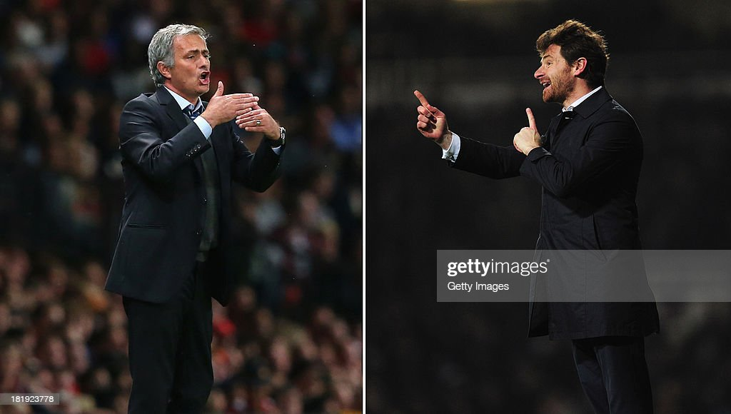 IMAGES - Image Numbers 177995833 (L) and 162765732) In this digital composite a comparison has been made between Jose Mourinho, Manager of Chelsea (L) and Andre Villas-Boas, Manager of Tottenham Hotspur. The Premiership match between Tottenham Hotspur and Chelsea takes place on the September 28, 2013 at White Hart Lane,London. LONDON, ENGLAND - FEBRUARY 25: Andre Villas-Boas, manager of Tottenham Hotspur gives instructions during the Barclays Premier League match between West Ham United and Tottenham Hotspur at the Boleyn Ground on February 25, 2013 in London, England.