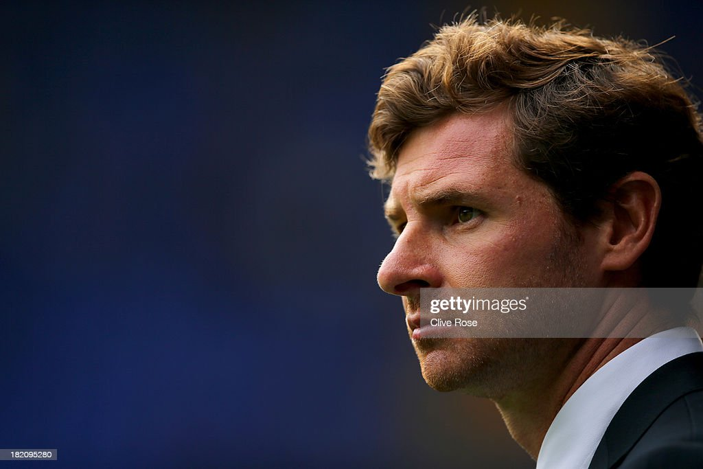 Andre VillasBoas manager of Tottenham Hotspur looks on prior to the Barclays Premier League match between Tottenham Hotspur and Chelsea at White Hart...
