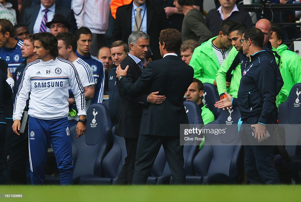 Andre Villas-Boas manager of Tottenham Hotspur shakes hands with Jose Mourinho manager of Chelsea after the Barclays Premier League match between Tottenham Hotspur and Chelsea at White Hart Lane on September 28, 2013 in London, England.