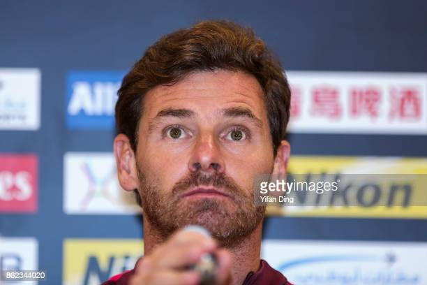Andre VillasBoas the head coach of Shanghai SIPG attends the press conference ahead of the AFC Champions League semi final second leg match between...