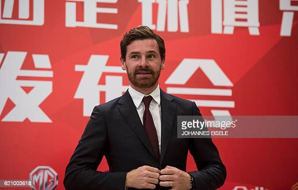 Andre VillasBoas the newly announced football coach for Shanghai SIPG attends a press conference in Shanghai on November 4 2016 Former Chelsea and...