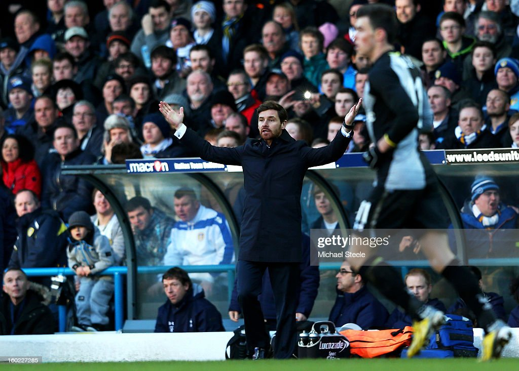 Andre Villas-Boas the Spurs manager reacts during the FA Cup with Budweiser Fourth Round match between Leeds United and Tottenham Hotspur at Elland Road on January 27, 2013 in Leeds, England.